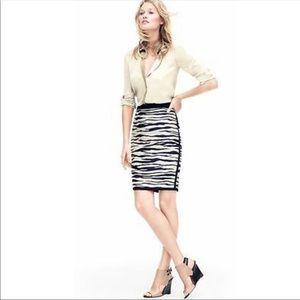Ann TAYLOR Zebra Jacquard Print Pencil Skirt